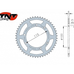 Rear sprocket 52t by TNT for Peugeot XP6