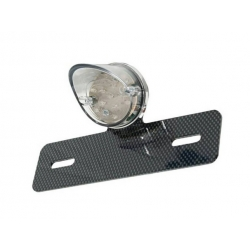 Taillight leds white round with carbon look licence plate bracket