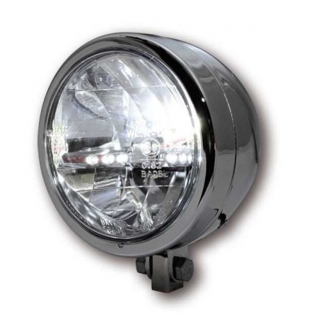 Headlight chrome plated black Highsider Ø145mm 12V 55/60W