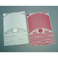 Red letters and numbers stickers set for wheels kitaco