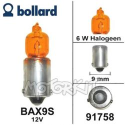 Halogen bulb BAX9S 12v 6W orange with offset pins