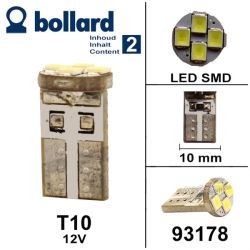 T10 - Wedge bulbs - 12 Volts 4 LEDS SMD (2pc)