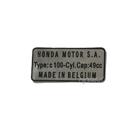 "Sticker Honda C100 ""Made in Belgium"" reproduction"