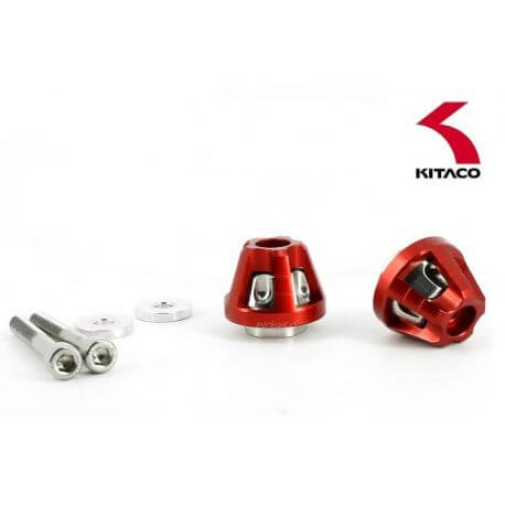 Kitaco union bar end cap set for Honda Monkey 125cc - stainless and red