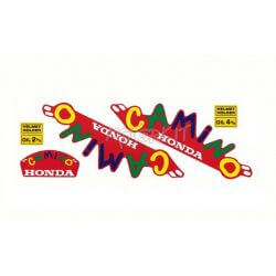 "Set stickers Honda Camino - Hobitt ""carnival"" on a RED background. Reproduction"
