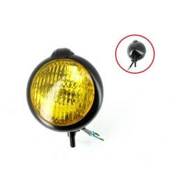 Front light type Honda Cub - matt black - yellow lens - E marked