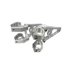 Universal billet frontlight brackets set 26, 30, 40 or 45 mm silver with holes for winkers